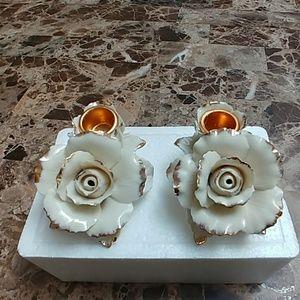 Winter Rose candleholders